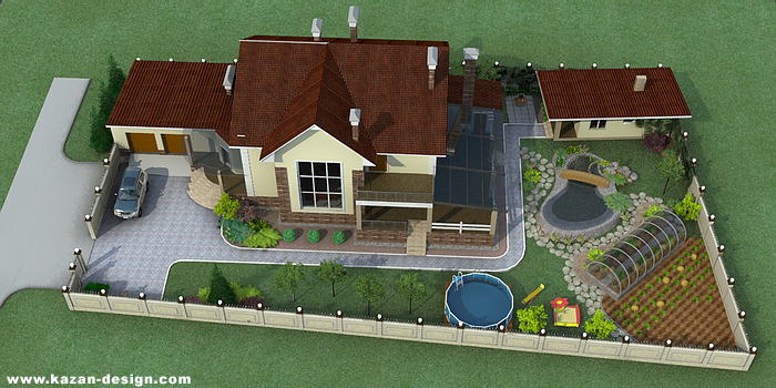 Расположение дома и бани на участке дизайн